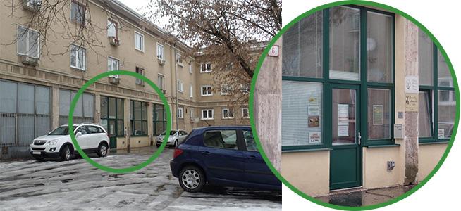 Označenie vstupu do OPK Nitra na fotografii budovy