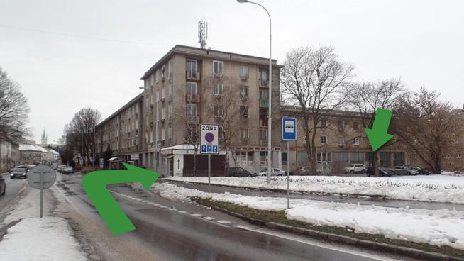 Označenie OPK Nitra na mape Mostnej ulice